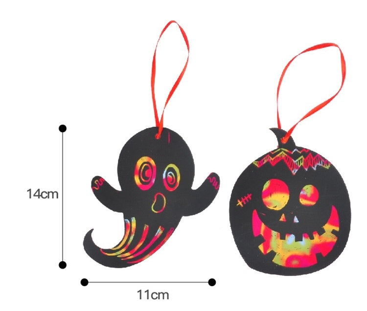 Halloween DIY Scratch Off Card Pack of 4 Hanging Ornaments Art Set HLW1022A
