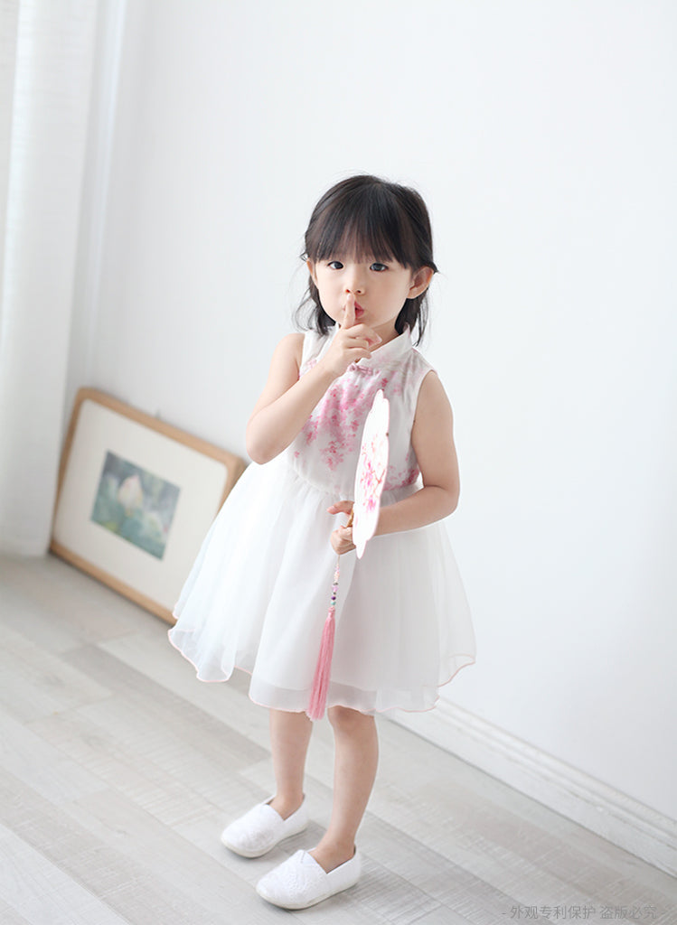 2-8Y Girls Cheongsam Tulle Dress with Lining A200C13G