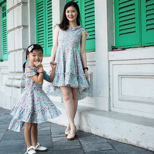 3-15Y Girls Floral Off-Shoulder Uneven Dress G21021B (Mother sizes available)