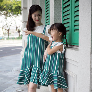 3-15Y Girls Green Stripes Hem Dress G21033J