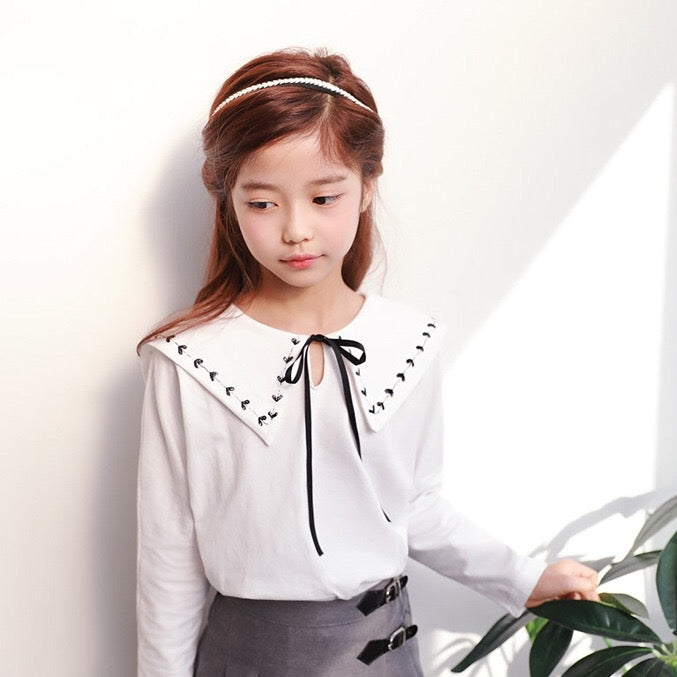 3-15Y Girls White Feminine Shirt G2104B (Mother size available)