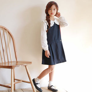 3-15Y Girls Navy Blue Dress G2103K