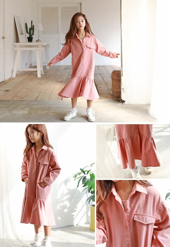 3-15Y Girls Pink Shirt Dress G2103L