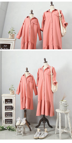 3-15Y Girls Pink Shirt Dress G2103L (Mother size available)