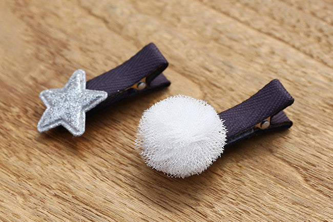 100% Handmade Kids Star and Ball Hairclips Set A323G81B