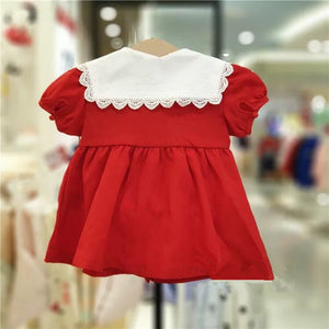 1-4Y Girls Collar Red Dress G20128C