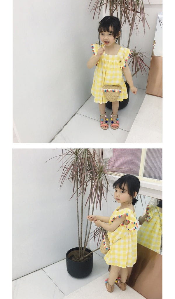 2-7Y Girls Yellow Checker Dress with Tassels A20131I