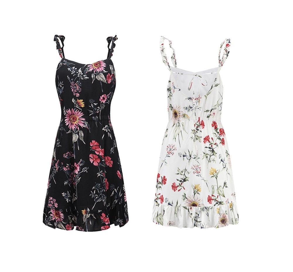Women Black Floral Feminine Dress W2011D
