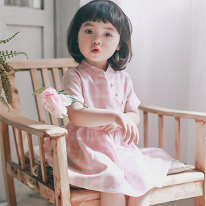 2-8Y Girls Checker Cheongsam Dress A200C51A