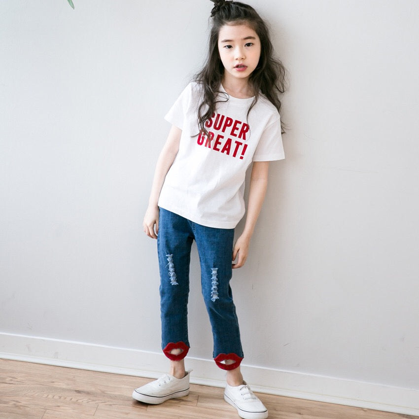 3-15Y Girls White Top G21042F (Mother sizes available)