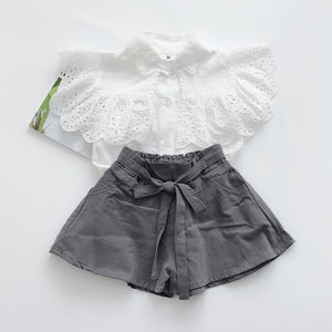 2-7Y Girls Ruffles Top and Bottom 2pcs Set A20127B