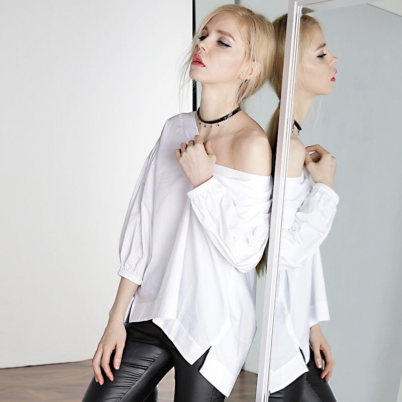 Women Off-Shoulder White Shirt W1011C