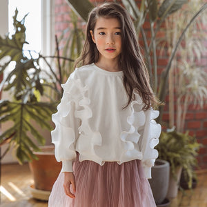 3-15Y Girls White Ruffle Sweater G21044D (Mother sizes available)  (1st batch ready-stock sold out, pre-order is opened)
