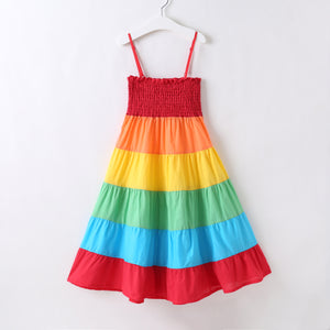 2-8Y Girls Maxi Rainbow Dress A20131C
