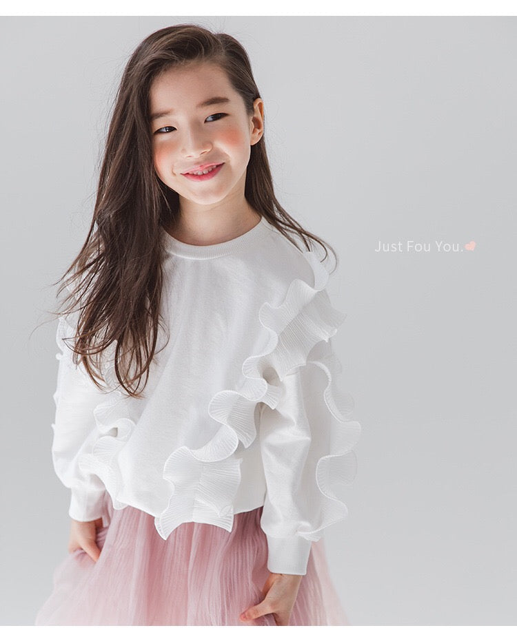 3-15Y Girls White Ruffle Sweater G21044D (Mother sizes available)