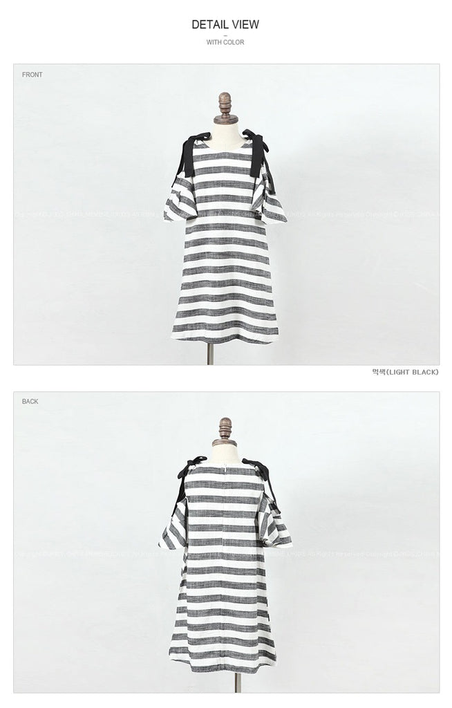 3-15Y Girls Off-Shoulder Stripes Dress G21034K (Mother size available)