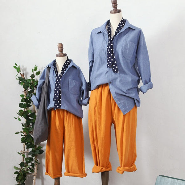 3-15Y Girls Blue Shirt with Scarf G2104G (Mother size available)