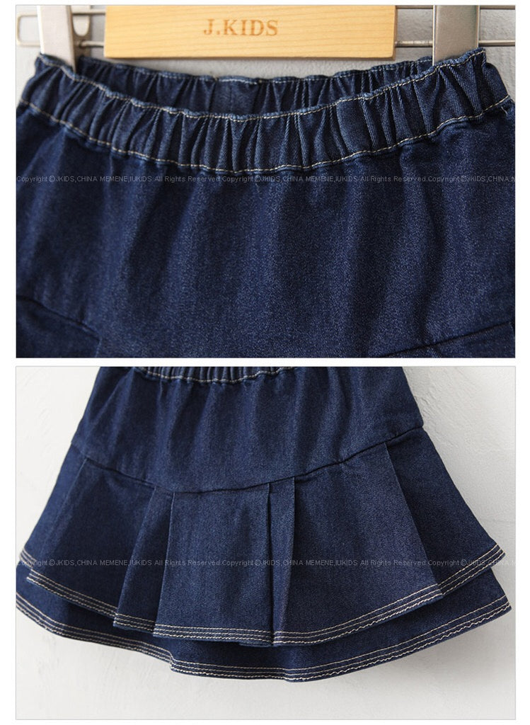 3-15Y Girls Jeans Flare Skirts with Inner Short Pants G2141B (Mother size available)