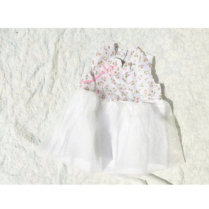 1-6Y Girls White Floral Cheongsam Tulle Dress A200C51C
