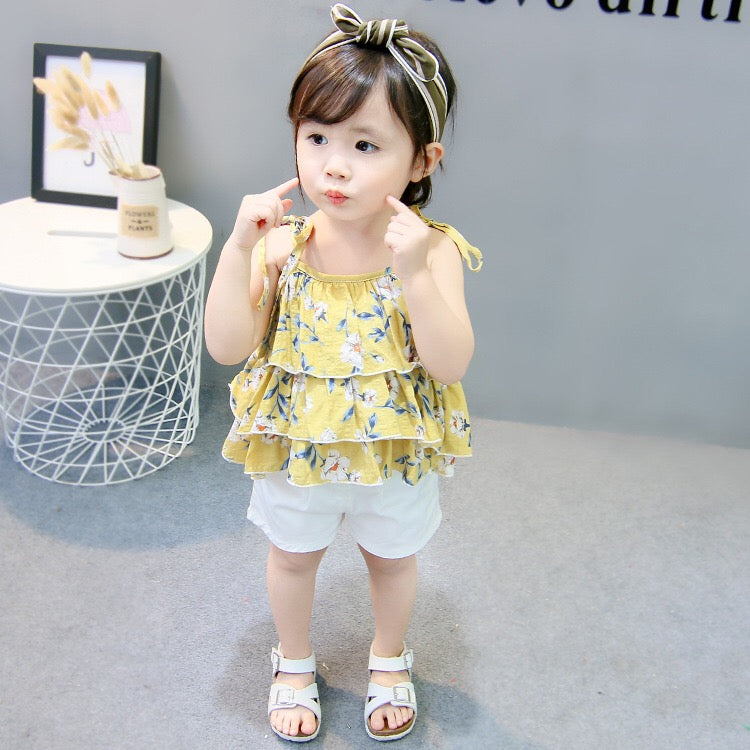 1-4Y Girls Yellow Layers Blouse White Bottom 2pcs Set A20123G