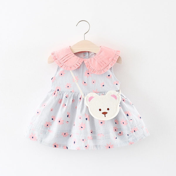 1-4Y Girls Collar Dress with Bear Bag 2pcs Set A20123I