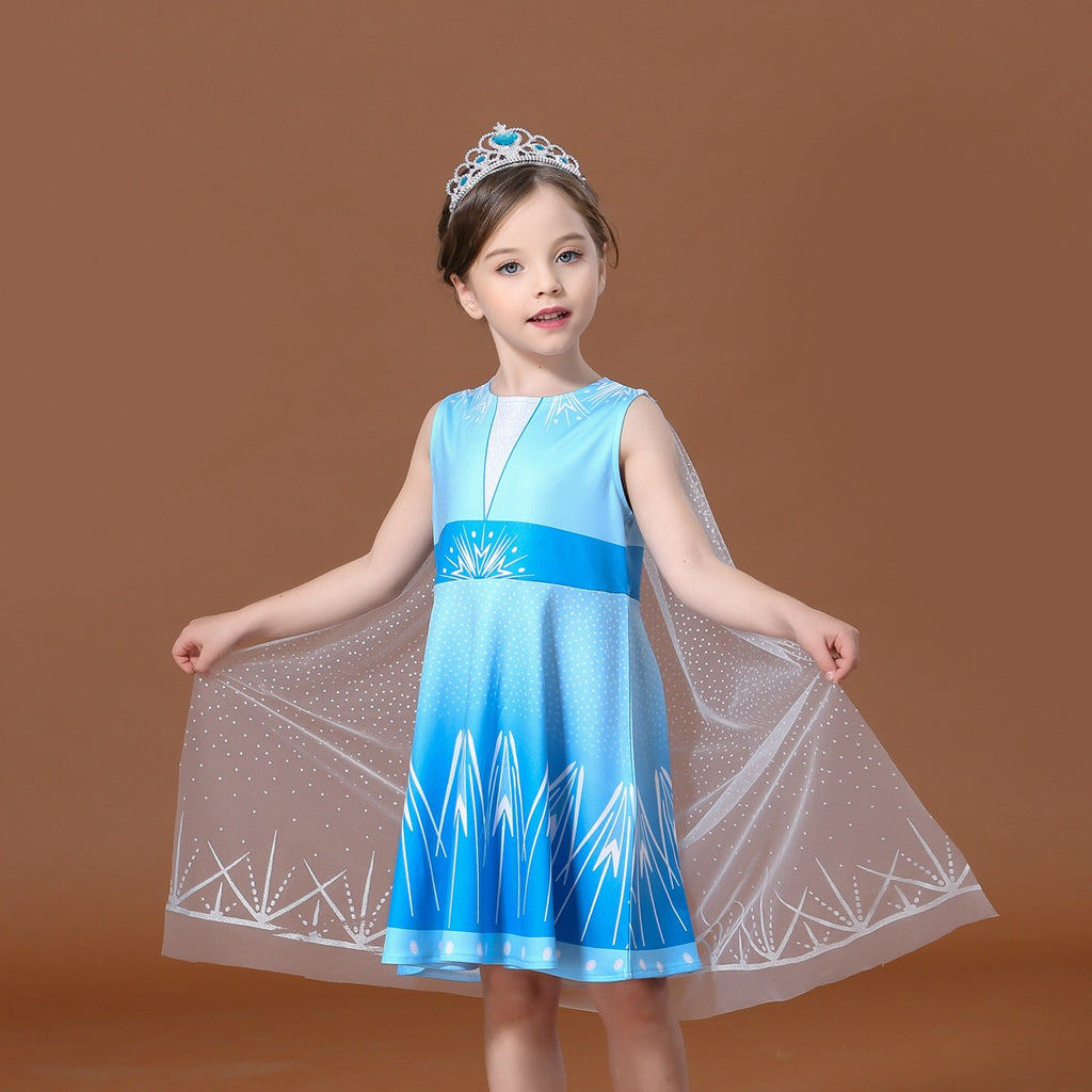 Girls Blue Dress with Cape A20135F