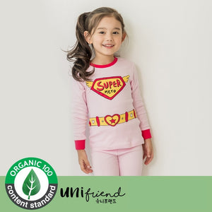 2-8Y Kids Organic Supergirl Super Hero Pyjamas 2pcs Set A40421D