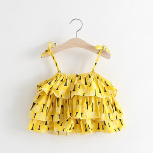 1-4Y Girls Yellow Layers Blouse White Bottom 2pcs Set A20123L