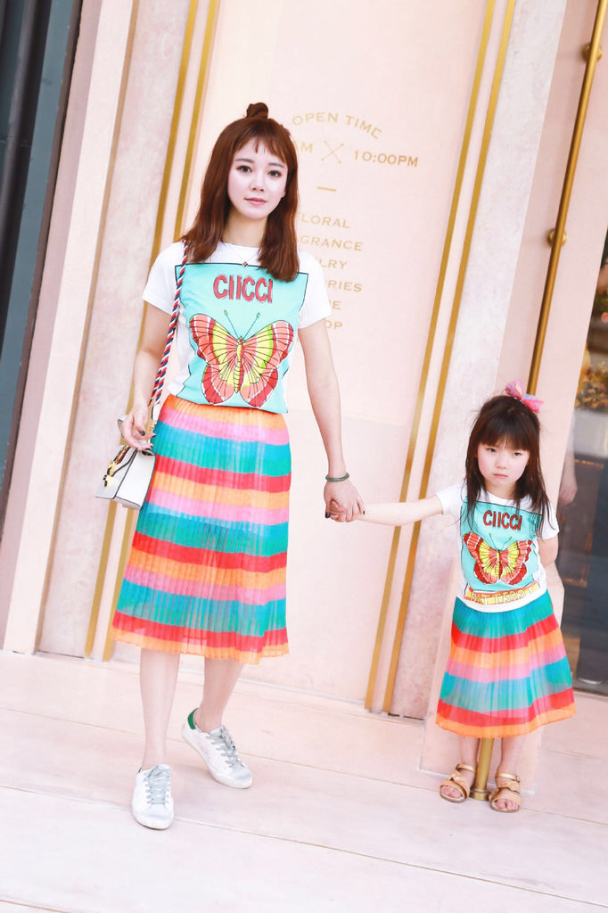 2-8Y Kids Rainbow Pleated Skirt G21035H (Mother sizes available)