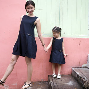 3-15Y Girls Navy Blue Dress G2103K (Mother size available)