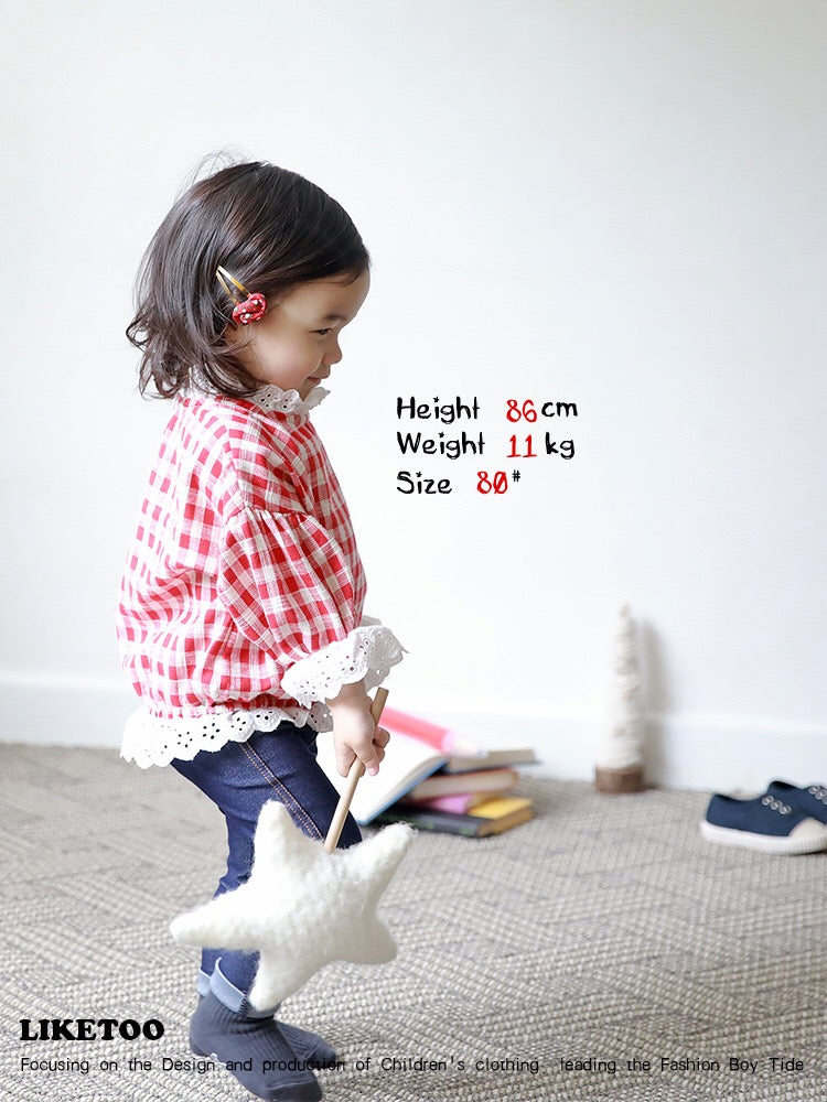 1-6Y Kids Checker Lace Sweater A42111A