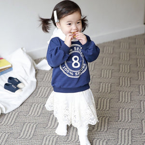 1-6Y Kids Blue Sweater Lace Hoodies A42111B