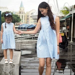 3-12Y Girls Blue Stripes Dress G2102K (Mother sizes available)