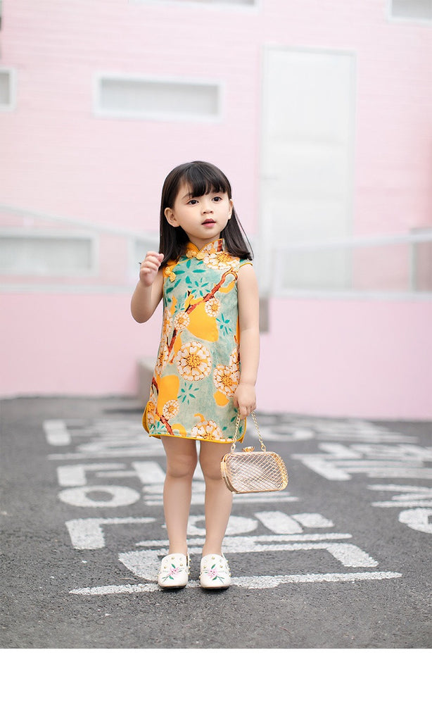 3-8Y Girls Orange Cheongsam Dress A200C67B