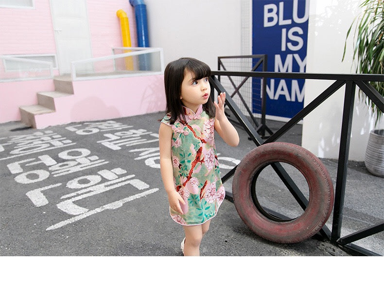 2-6Y Girls Pink Cheongsam Dress A200C67A
