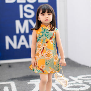 2-6Y Girls Orange Cheongsam Dress A200C67B
