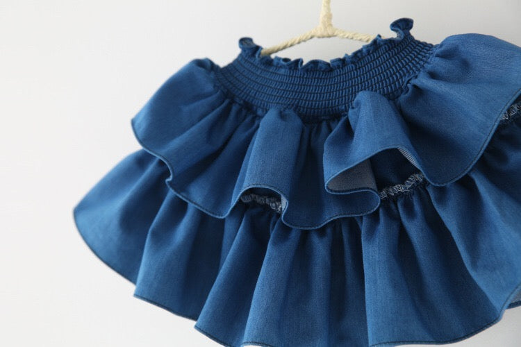 1-8Y Girls Denim Layers Skirts A20411A