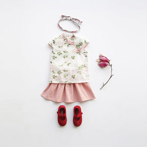 2-8Y Girls Floral Cheongsam Top and Bottom 2pcs Set A200C15C