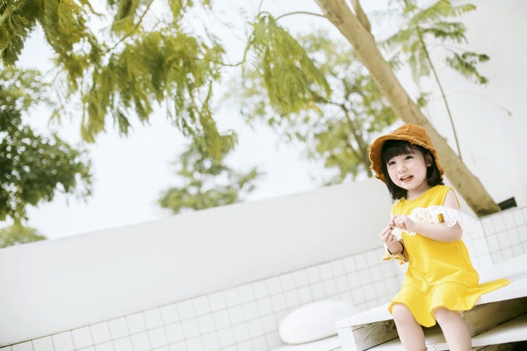 1-7Y Girls Yellow Dress with Sling Bag 2pcs Set A20125D