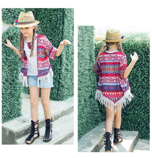 4-15Y Embroidered Boho Tribal Bohemian Outerwear G21044F (Mother sizes available)
