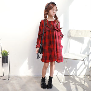 3-15Y Girls Red Checker Dress G2103N