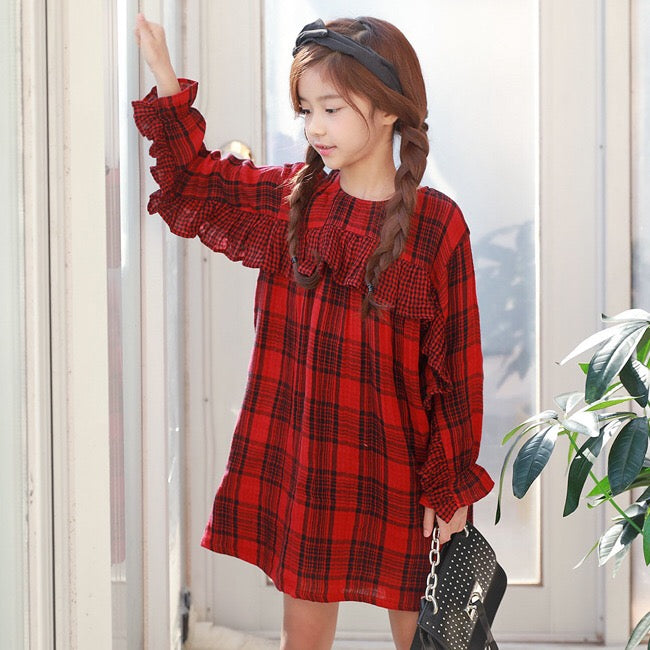 3-15Y Girls Red Checker Dress G2103N (Mother size available)