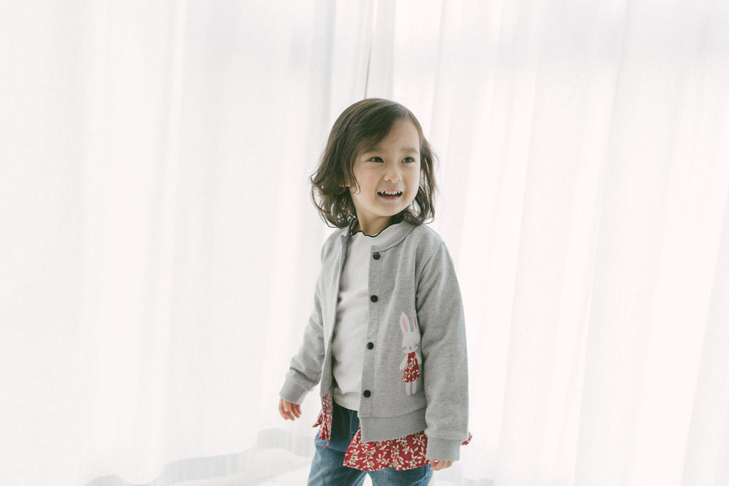 2-6Y Girls Red Floral Bunny Grey Jacket A2085F