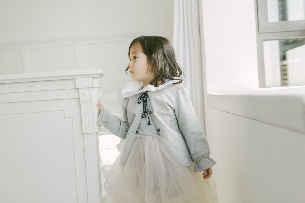 2-6Y Girls White Ruffles Collar Grey Jacket A2085G