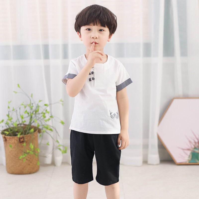 2-7Y Boys Kungfu Top and Bottom 2pcs Set A100C42I / Top only A100C13J