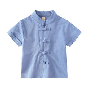 2-8Y Boys Mandarin Collar Shirt A100C17B