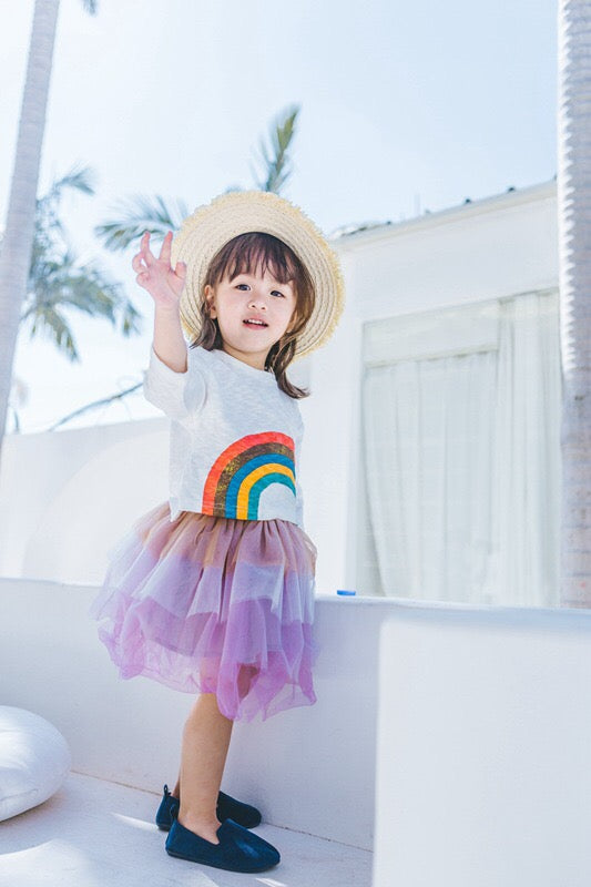 1-6Y Girls White Rainbow Shirt A2024J