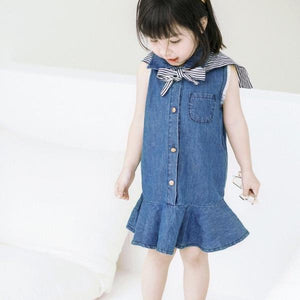 1-8Y Girls Denim Frill Dress A20126A