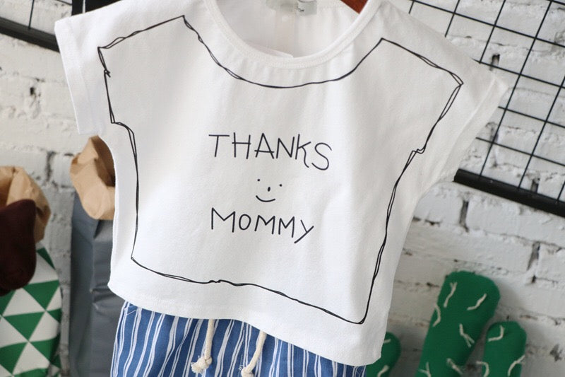 3-8Y Kids Shirts with Thanks Mummy A10462A