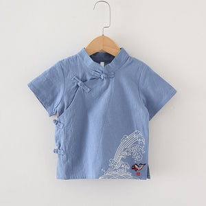 2-8Y Boys Mandarin Collar Shirt A100C17D